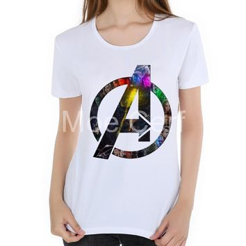 3D Superhero logo T Shirt Avengers Superman Batman Captain America print women clothing summer short sleeve girl tops  L19-38