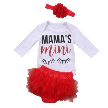 3PCS Newborn Baby Girl Clothes Sets Long Sleeve Romper Tutu Lace Shorts Cotton Outfits Set Clothing Baby Girls