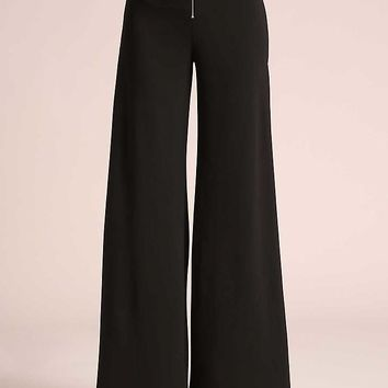 Black High Slit Wide Legged Slacks