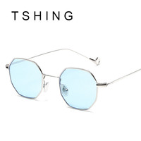 TSHING Fashion Small Metal Frame Octagon Steampunk Sunglasses Women Men Luxury Italy Brand Designer Clear Female Optical Glasses