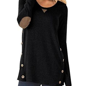 Camisunny Womens Casual Loose Tunic Tops Sweatshirt Long Sleeve Blouse Scoopneck with Faux Suede Decor Buttons