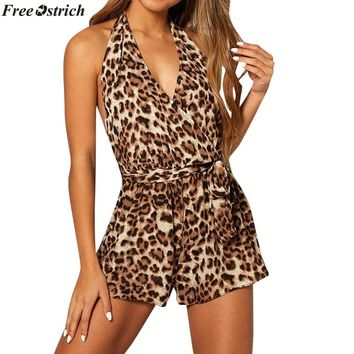 FREE OSTRICH Women's Fashion Leopard Backless Strap V-neck Short Jumpsuits ladies Beach Casual Loose Summer Rompers Plus Size
