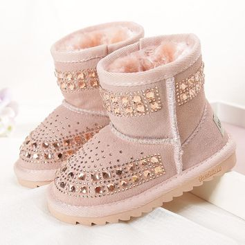 2017 Winter new children snow boots reihnstone kids genuine leather rubber boots warm shoes with fur princess  baby girls boots