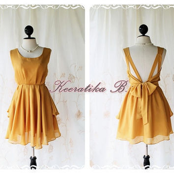 A Party V Shape Style - Cocktail Prom Party Dinner Wedding Night Dress Mustard Yellow Full Lined Deep Back Bow Tie Sexy Charming Looks