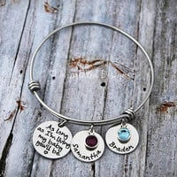 Alex Ani Bracelet Style - Mother Bracelet - Personalized - Adjustable - Birthstone - As Long As I'm Living My Baby You'll Be - Hand Stamped
