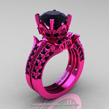 Retro Modern French 14K Fuchsia Pink Gold 3.0 Ct Black Diamond Solitaire Wedding Ring Wedding Band Set R401S-14KFPGBD
