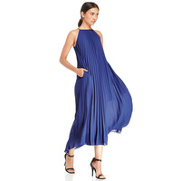 Blue Chiffon Halter Pleated Maxi Dress