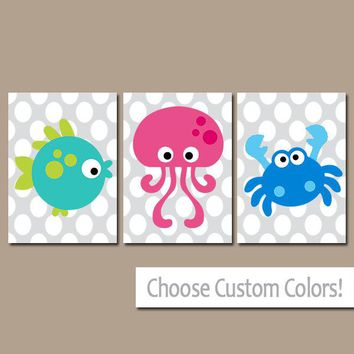 Sea Animals BATHROOM Wall Art, CANVAS or Prints, Nautical Bathroom Decor, Boy Girl Ocean Bath, Fish Octopus Crab Set of 3 Kid BATHROOM