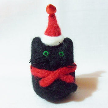 Needle Felted Christmas Cat - Christmas Ornament - 100% merino wool - needle felted cat - wool felt cat