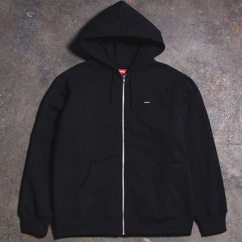 Small Box Zip Up Sweatshirt Black (XL)
