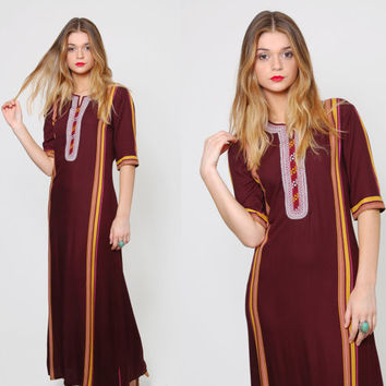 Vintage 70s CAFTAN Ethnic Boho Maxi Dress BURGUNDY Indian Short Sleeve Hippie Dress