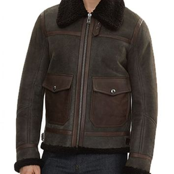 Men Shearling Sheepskin Leather Jacket – In Style Jackets