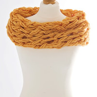 Hand Crafted Arm Knitted Infinity Scarf – Vibrant Orange Super Chunky, Cosy, Single Length » Craftori