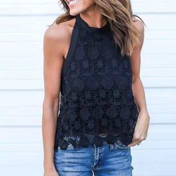 NEW 2018 Summer Sexy Ladies Solid Loose Sleeveless Halter Vest Fashion Lace Crochet Splice Tassel Drawstring Backless Camis Tops
