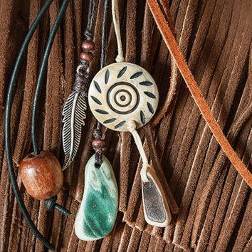 Bohemian Zipper Pull - Southwestern Key Fob Clip - Feather, Wooden Beads, Leather, Suede, Sea Tumbled Stones - Mesa Dreams Original