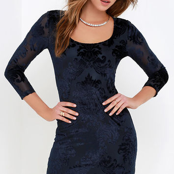 Black Swan Polienne Navy Blue Jacquard Dress