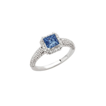 Princess blue halo diamond 1.71 carats anniversary ring white gold 14K new