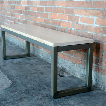 Loop Dining Bench - Includes Delivery - Shown in 54x14 Maple with Warehouse Metal Steel Frame