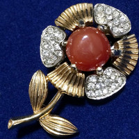 Marvella Rhinestone Flower Brooch Pin Crystal Glass Stones Faux Carnelian Center Gold and Silver Tone Mid Century Jewelry 618