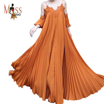 TOP quality 2016 new summer bohemian dress women's X-long Pleated chiffon lace dress short sleeves spaghetti strap maxi dress