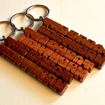 2-Liner Name Keychain - Mesquite Wood - Handmade to Order