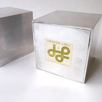 Weighted Aluminum Cube Bookends by Bill Curry (1955)