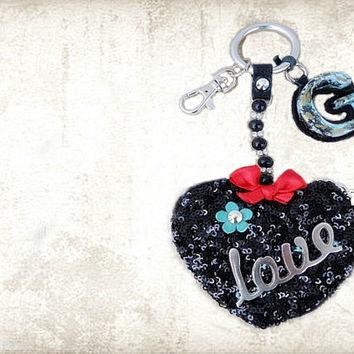 Heart coin pouch, black sequin purse, monogram keychain, personalized keychain, initial keyring