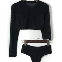 Black Sheer Long Sleeve Bikini Top and High Waist Triangle Bottom