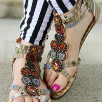 Summer Collection: Bohemian Beaded Strappy Sandals in Khaki from AlisonSman