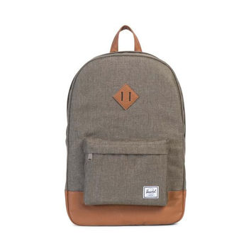 HERSCHEL SUPPLY CO HERITAGE BACKPACK - CANTEEN CROSSHATCH/TAN SYNTHETIC LEATHER