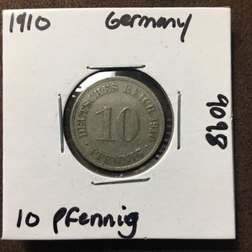 1910 German Empire 10 Pfennig Coin 9098