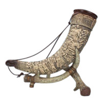 German Drinking Horn with Stand - CG3902 by Medieval Collectibles