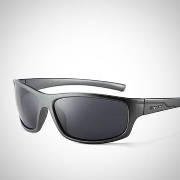 New Polarized Wrap-Around Rectangle Sunglasses