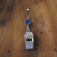 Belly Button Ring - Body Jewelry - Rhinestone Whistle with Dark Blue gem stones Belly Button Ring