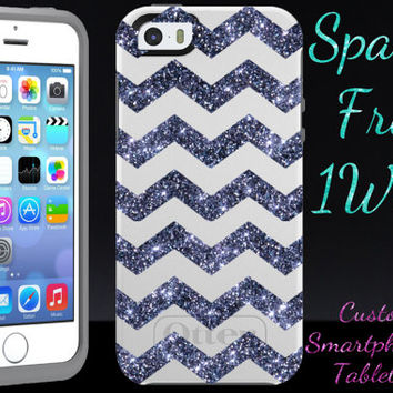 Otterbox Symmetry iPhone 5/5S Case - iPhone 5/5S Otterbox Symmetry Case White/Grey Smoke Glitter- Small Chevron Cute iPhone 5/5s Case Cover