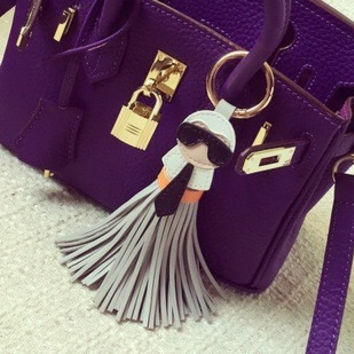 Karl face tassel key chain