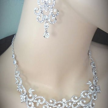 Bridal jewelry set ~ Crystal rhinestone  ~ Necklace and earrings set  ~ Statement bib necklace ~ Pageant ~ Formal ~ Bridal Jewelry ~ ALEXIS