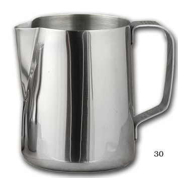 Quality Stainless Steel Frothing Pitchers Available in 8 oz to 50 oz Home and Commercial Sizes