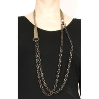 Rimini Link and Leather Necklace