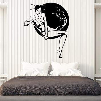 Vinyl Sticker Geisha Japanese Beaytu Nude Woman Sakura Tree Wall Decal Unique Gift (n803)