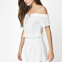 LA Hearts Off-The-Shoulder Lace Inset Romper at PacSun.com