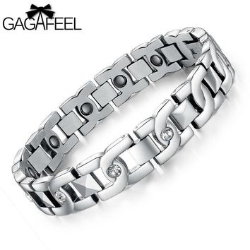 Hot Fashion Women Men Titanium Steel Health Magnetic Bracelet  Zircon Crystal Bangle Lucky Wristband Lover Jewelry Gifts B3358