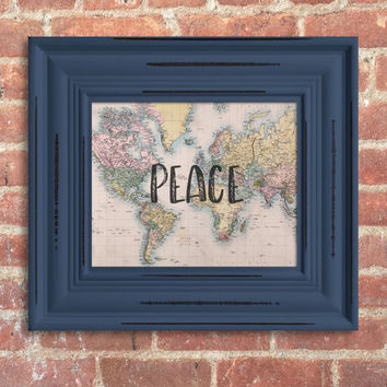 World Peace Digital Art Print. Vintage map w/hand letter look. Bohemian style. Instant Download, great last minute gift! #peace #worldpeace