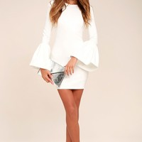 Double Flair White Long Sleeve Bodycon Dress
