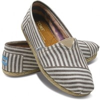 TOMS Brown Stripe Rope Sole Women's Classic Canvas Slip On Shoes 10
