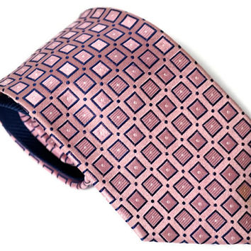 "Vintage Tommy Hilfiger Silk Tie with Geometric Pattern, Lilac Pink & Navy Blue Necktie,60.6"" x 3.7""/154 cm x 9.5 cm Designer Tie,Made in USA"