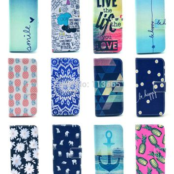 Free shipping 12 designs Smile OK Be Happy mandala pineapple elephant stand wallet PU Leather Case For Samsung Galaxy S4 i9500