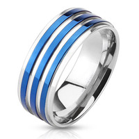 Skyfall - Triple blue IP band silver stainless steel men's ring