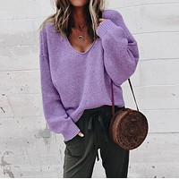 V-neck Candy Solid Color Women Loose Pullover Sweater