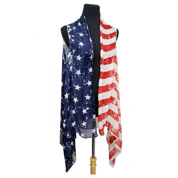 """American Pride"" Stars and Stripes American Flag Kimono"